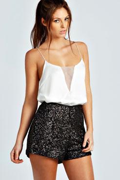 Faith Sequin High Rise Hotpant Shorts at boohoo.com
