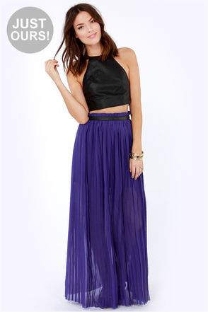 Cute Indigo Blue Skirt - Maxi Skirt - Pleated Skirt - $49.00