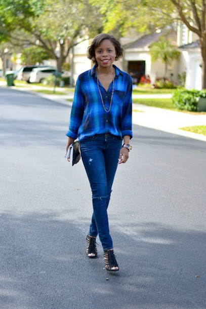 cha cha the fashion genius blogger jeans flannel shirt blue shirt black shoes shirt shoes jewels bag