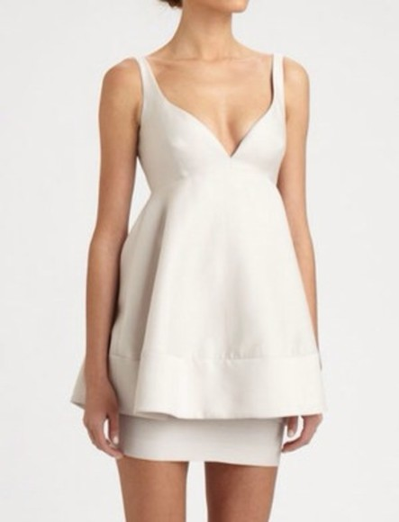 dress peplum ivory dress