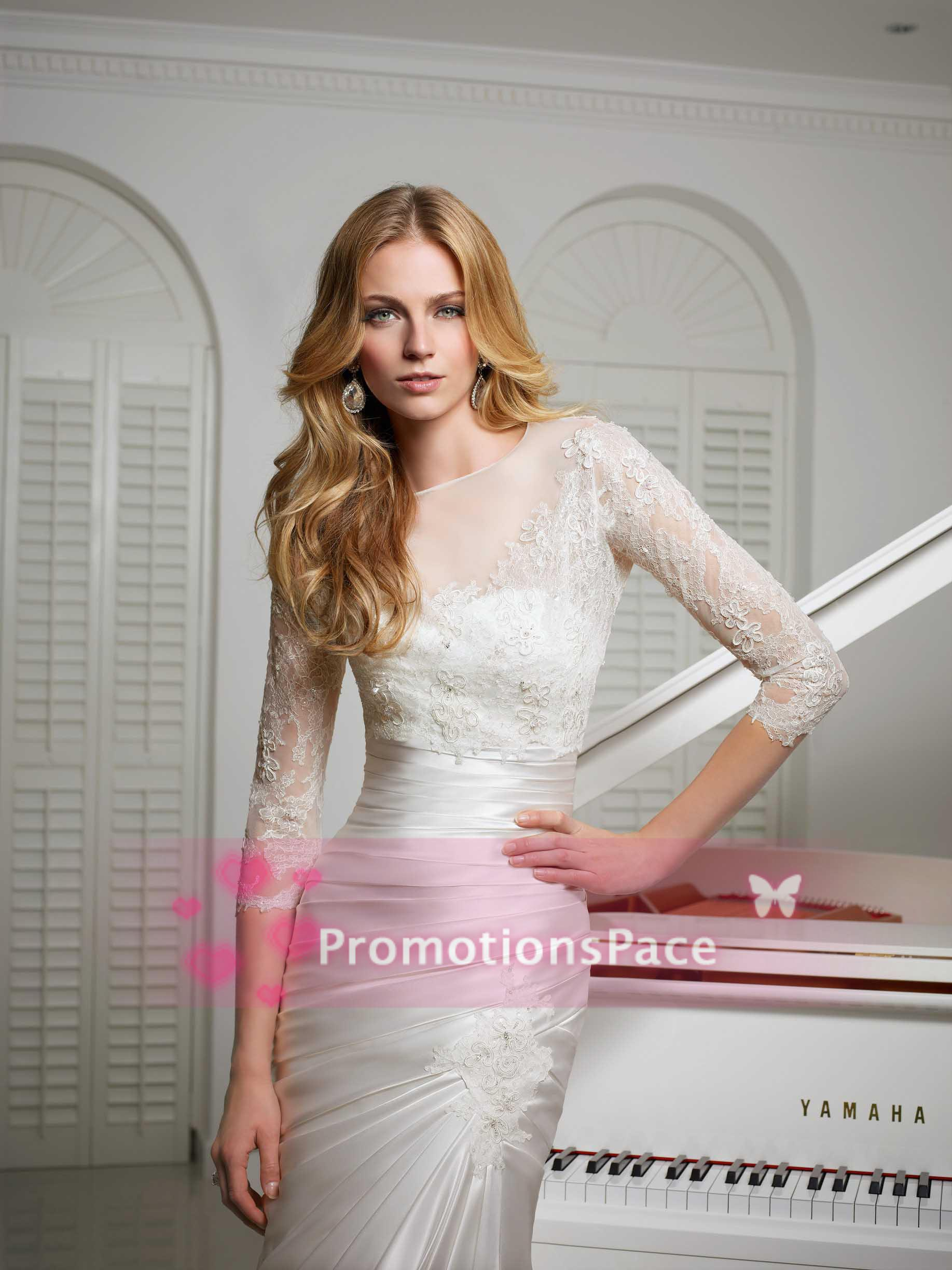 Cheap 2014 Wedding Dresses - Discount Vintage Satin Tulle 2014 Wedding Dresses 3 4 Online with $165.45/Piece | DHgate