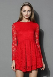 chicwish,tempting red lace flare dress,fashion and chic