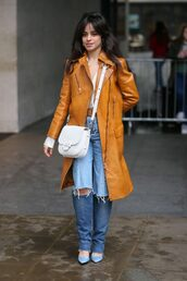 coat,jeans,denim,streetstyle,london fashion week 2018,fashion week,camila cabello