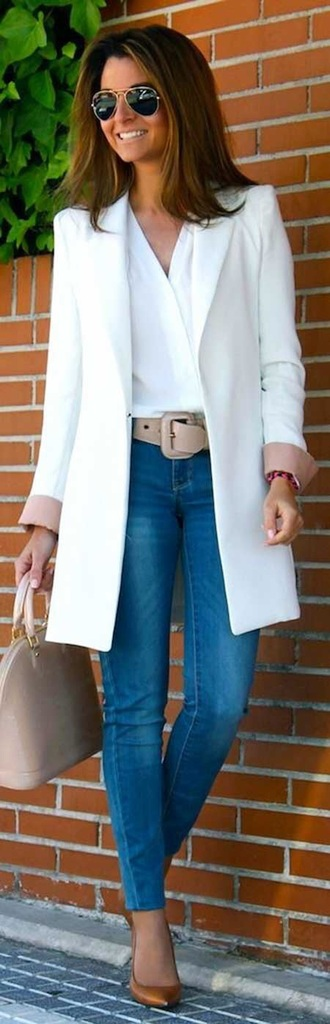 coat white chic summer work outfits beautiful