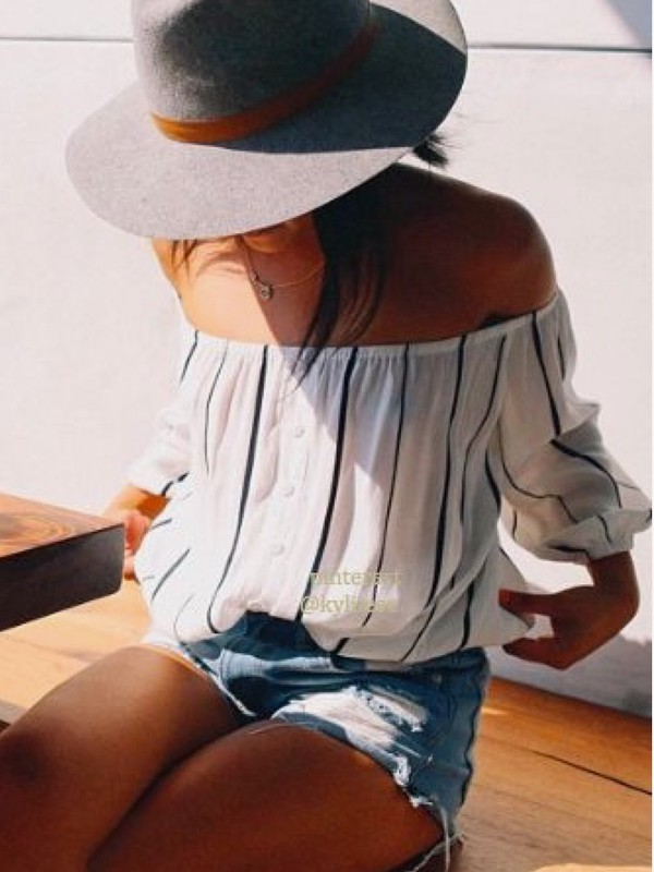 blouse striped top striped shirt off the shoulder off the shoulder top white white top white crop tops white shirt white blouse