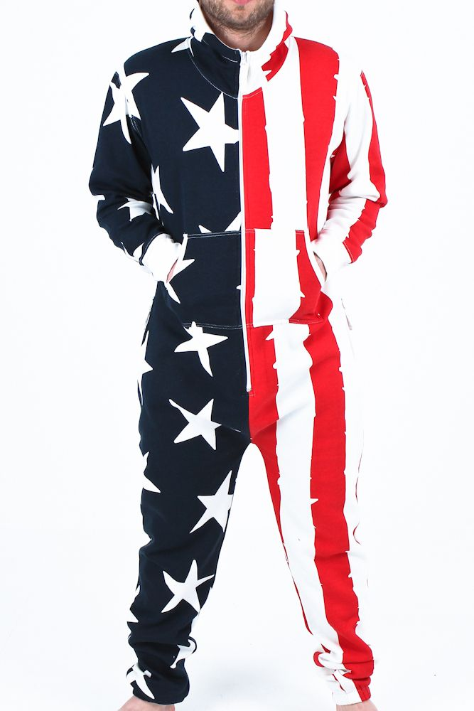 Men Jumpsuit Onesie American Flag