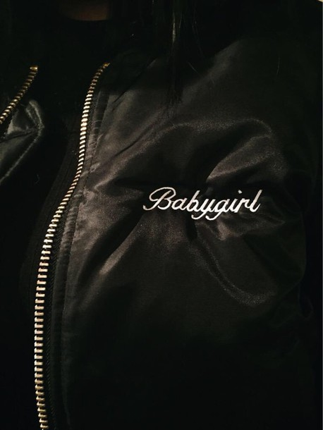 Jacket: baby girl, bomber jacket, black, tumblr - Wheretoget
