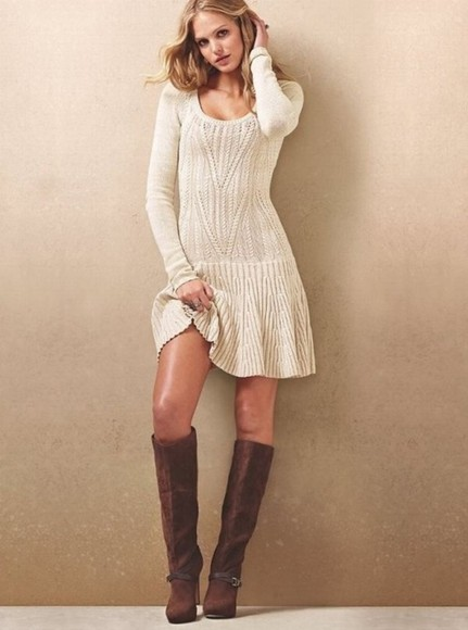 shoes high heels fashion toast dress white dress white boots mini dress brown leather boots