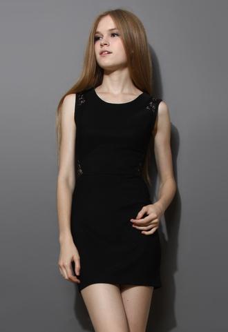 dress black lace shift