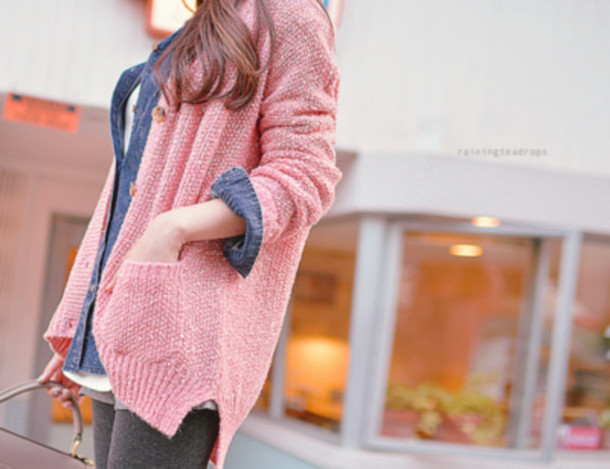 sweater pull veste jacket pink ulzzang korean style cardigan
