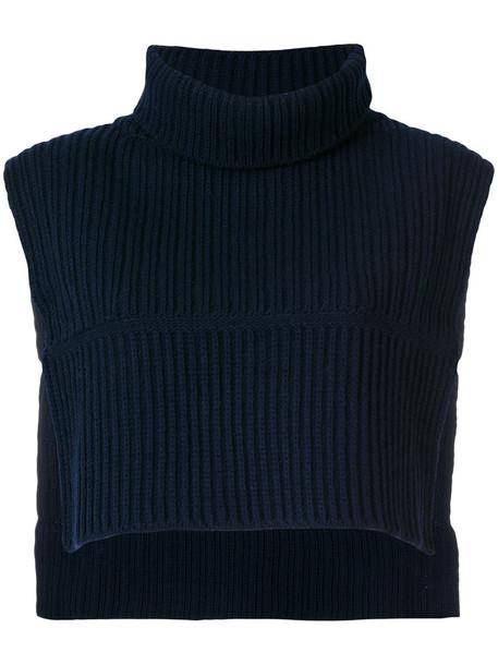 poncho high women high neck blue wool top