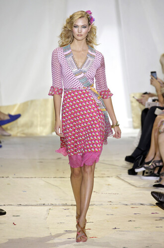 dress pink dress karlie kloss fashion week sandal heels sandals wrap dress runway