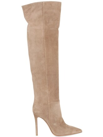 over the knee boots suede beige shoes
