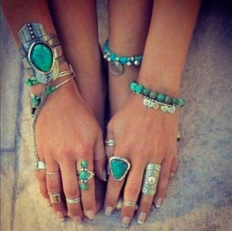 jewels turquoise jewelry jewelry bracelets ring rings and tings silver silver ring silver jewelry boho boho chic boho jewelry bohemian turquoise cuff bracelet statement ring