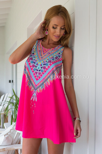 dress pink dress xenia multicolor tribal dress