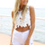 White Shorts - White Denim Cutoff High Waisted | UsTrendy