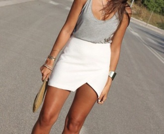 skirt white skirt hot asymmetrical skirt sexy short dresses