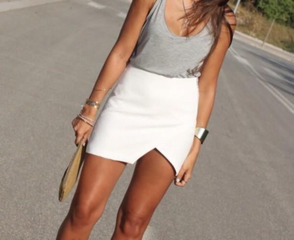 skirt, white skirt, hot, asymmetrical skirt, sexy short ...
