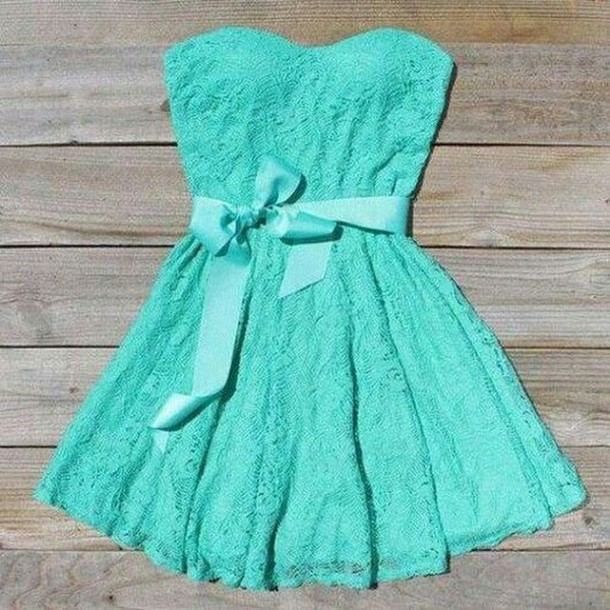 dress mint green prom dress lace