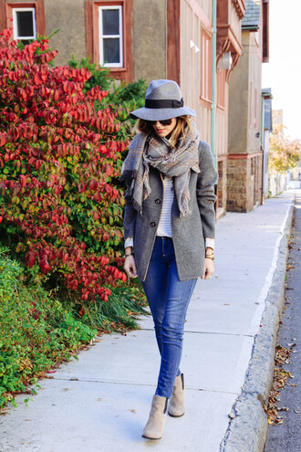 prosecco and plaid blogger jacket jeans scarf sunglasses fall outfits flannel scarf shoes pants shirt