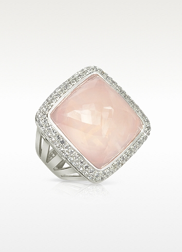 Sho London 18K Gold V-Seal Rose Quartz Victoria Ring at FORZIERI