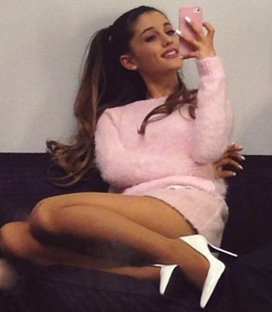pink, sweater, ariana grande, style, fuzzy sweater, shoes ...