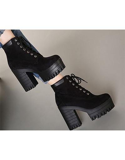 Winter high chunky boots black brown ankle platform heel heels