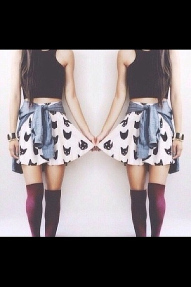 skirt cats knee high socks top tank top cute knee socks tumblr summer