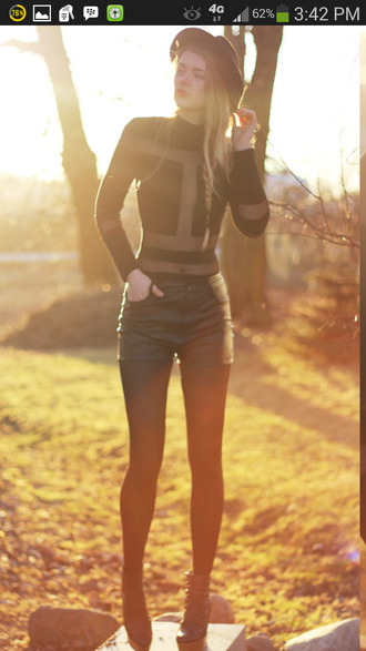shirt panel black mesh long sleeves shorts leather fall outfits tights fashion outfit looks leather shorts girly