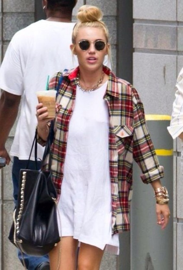 dress miley cyrus white dress grunge starbucks coffee casual blouse sunglasses tshirt dress