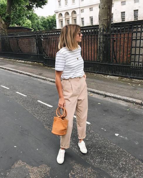 bag top stripes pants shoes