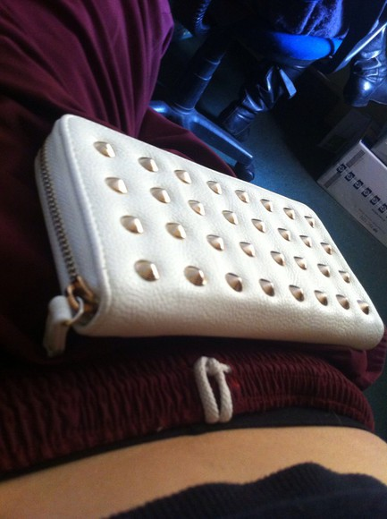 bag white purse gold studded wallet