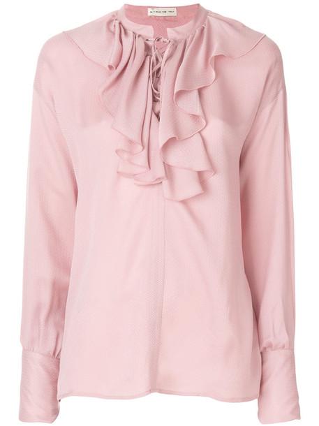 Etro - ruffled lace-up blouse - women - Silk - 40, Pink/Purple, Silk