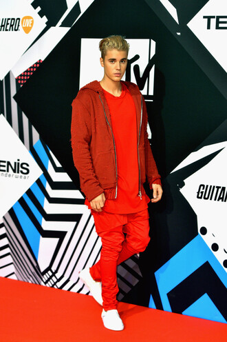 jacket top pants red justin bieber mtv ema mtv ema awards