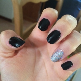 nail polish nail art paillettes black nailpolish black nails black nail polished polishes strass cute girly top