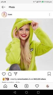 jacket,loren grey,green jacket,hoodie,the grinch