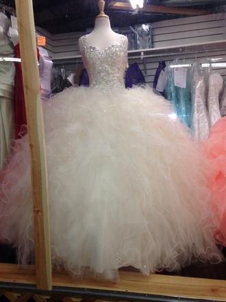 dress ruffle white dress quinceanera dress quinceanera gown