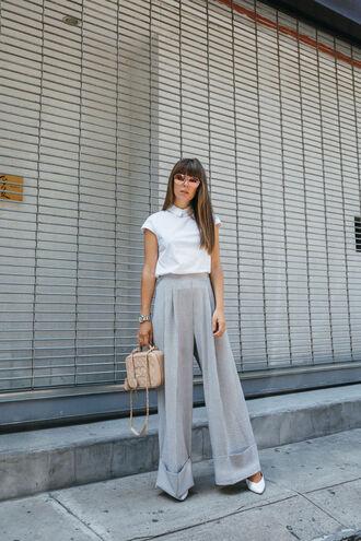 top tumblr white top sleeveless sleeveless top pants wide-leg pants grey pants bag nude bag sunglasses shoes