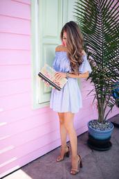dress,tumblr,off the shoulder,off the shoulder dress,blue dress,sandals,sandal heels,high heel sandals,clutch,bag,shoes