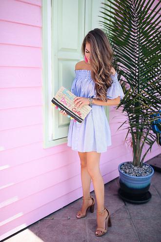 dress tumblr off the shoulder off the shoulder dress blue dress sandals sandal heels high heel sandals clutch bag shoes