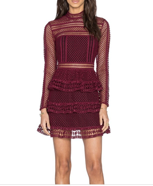 dress self portrait burgundy high neck lace