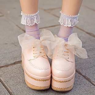 маленький персика диз диза сладкий и мягкий harajuku шнуровкой платформе лука paltform одиночные ботинки