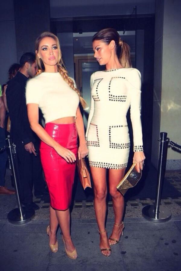 skirt red sexy top crop tops white heels