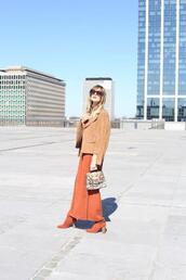 from brussels with love,blogger,dress,jacket,bag,shoes,sunglasses,orange dress,suede jacket,boots,spring dress