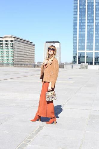 from brussels with love blogger dress jacket bag shoes sunglasses orange dress suede jacket boots spring dress