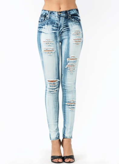 Holey-Cow-Bleached-Jeans BLUE - GoJane.com