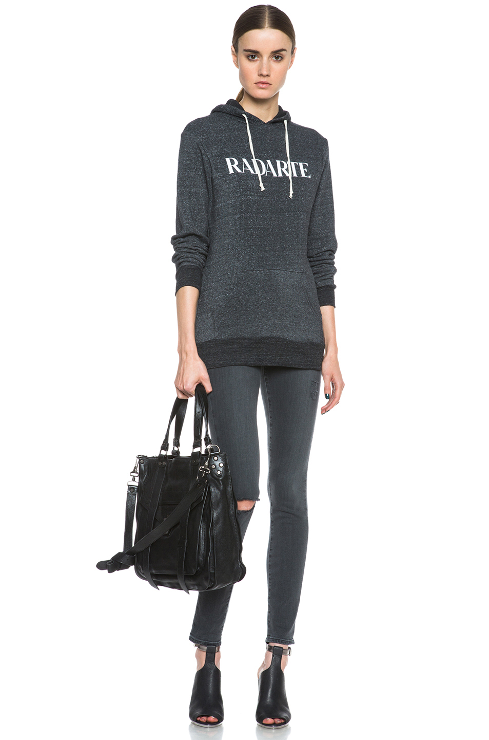 Rodarte|Radarte Poly-Blend Hoodie in Black Heather