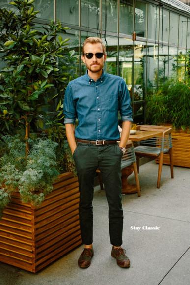 oxfords stay classic blogger sunglasses menswear watch Belt denim shirt