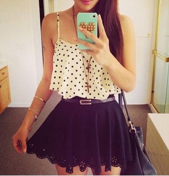 skirt top black skater skirt crop tops skater skirt Belt polka dot top