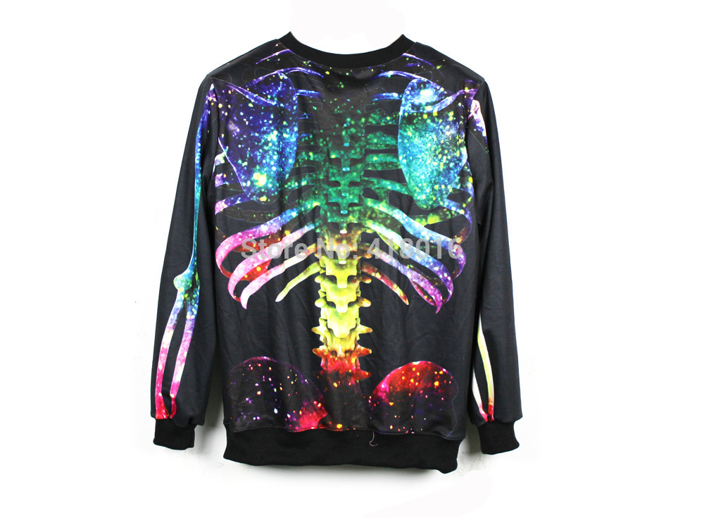 2014 new women's fashion hoodies Skull bone Sweatshirt Harajuku RIB print pullover Galaxy digital print sweatshirt free shipping-in Hoodies & Sweatshirts from Apparel & Accessories on Aliexpress.com